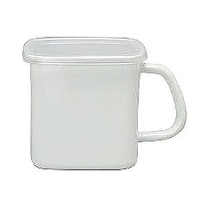 WhiteSeries持ち手付ストッカー角型L琺瑯蓋付MSH-12K CD:475133|n-kitchen