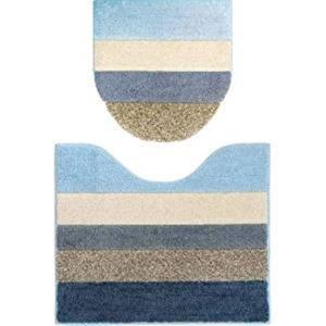 moconds トイレ2点セット(ふたカバー&トイレマット)ブルー系ボーダー柄 U・O型/洗浄・暖房兼用 ヴィンテージ風 帆布生地 モコンズ オカトー(Okato)|n-kitchen