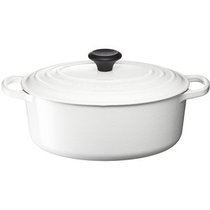 ル クルーゼ シグニチャー ココット・オーバル 25cm ホワイト 25178-25-01|n-kitchen