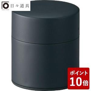 日々道具 茶筒 塗り缶 平型 150g マットブラック 江東堂高橋製作所|n-kitchen