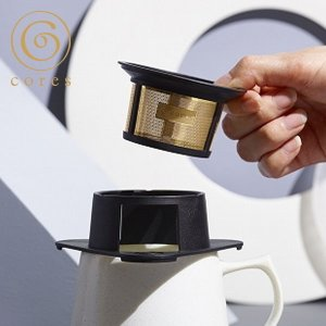 コレス コーヒー ドリッパー 丸山珈琲 共同開発 ゴールドフィルター ブラック 1杯用 ペーパーフィルター不要 C211BK cores 黒|n-kitchen