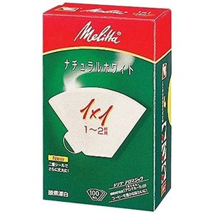 メリタ ナチュラルホワイト1x1Gフィルターペーパー Melitta|n-kitchen
