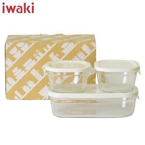 iwaki(イワキ) パック&レンジ 角型 3点セット ホワイト PTY-PRN-3W AGCテクノグラス n-kitchen
