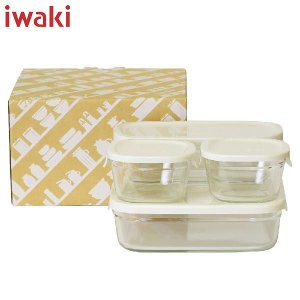 iwaki(イワキ) パック&レンジ 角型 4点セット ホワイト PTY-PRN-4W AGCテクノグラス|n-kitchen