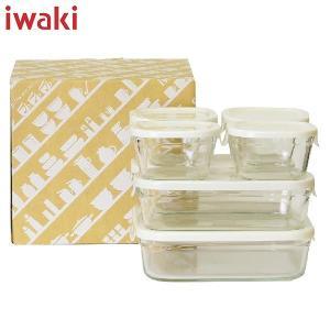 iwaki(イワキ) パック&レンジ 角型 7点セット ホワイト PTY-PRN-7W AGCテクノグラス n-kitchen