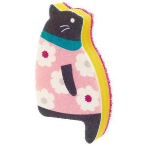 マーナ おすわりスポンジ ネコ A・花柄 ピンク K575A MARNA|n-kitchen