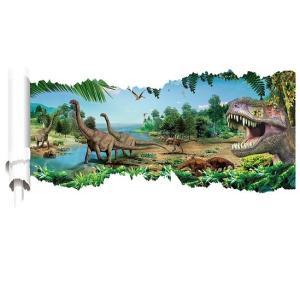 ウォールステッカー 恐竜 絵巻物 壁紙シール ジュラシックパーク 中生代 ドラゴン サウルス 送料無...