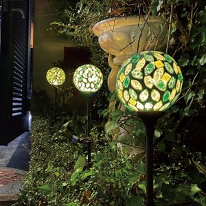 3本セット LED カレード スティックソーラーライト Green Leaf n-marche