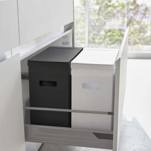 ( シンク下 蓋付き ゴミ箱 ホワイト・ブラック 2個組 タワー ) tower 山崎実業 ゴミ ダストボックス 調理 料理 角型 キッチン スリム おしゃれ シンプル|n-raffine