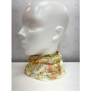 スカーフ レディース シルク 100% ネックカバー  イエロー|n-shopping