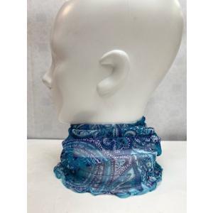 スカーフ レディース シルク 100% ネックカバー  ブルー|n-shopping