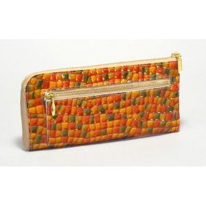 長財布 レディース 本革 日本製 L字型 FU-SI FERNALLE イタリア製牛革 オレンジ n-shopping