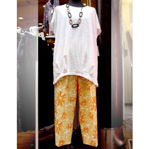 シニア ファッション レディース サマーパンツ 七分丈 日本製 フリーサイズ オレンジ|n-shopping