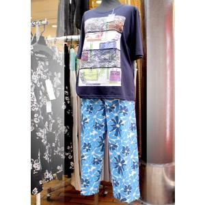 シニア ファッション レディース サマーパンツ 七分丈 日本製 フリーサイズ ブルー|n-shopping