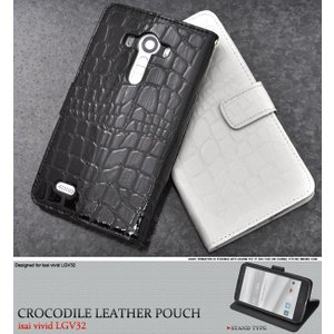 isai vivid LGV32 専用 手帳型 スマホケース ワニ革合皮レザー auスマートフォン イサイ ビビッド|n-style
