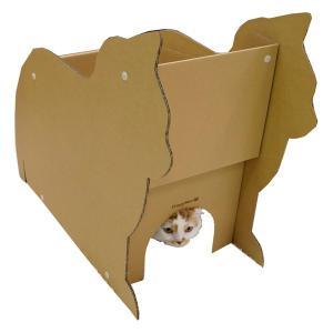 キャットハウス 猫 ダンボール にゃんテリア ねこ型ハウス 段ボール ドギーマン|n-style