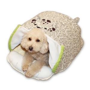 電気のいらない暖か、からだ保温ぶとん レオパード(M) ペット用かまくら型ベッド あったか