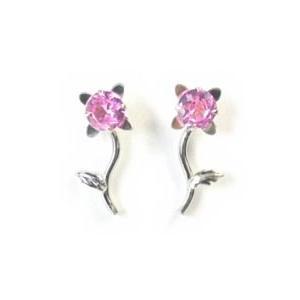 ホワイトゴールドピアス 一輪のお花のピンクキュービックジルコニア|n-style