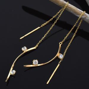 ピアス K10 キュービックジルコニア アメリカンピアス 10金 イエローゴールド 地金 女性 レディース|n-style