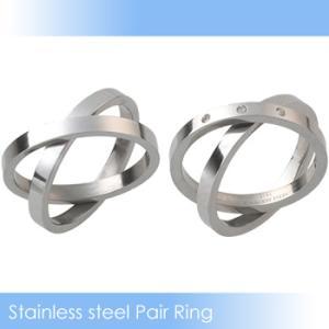 ペアリング ステンレス2連リング&ジルコニア3粒2連リング(指輪2個セット)|n-style