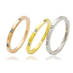 ステンレス ジルコニア付シンプルカットリング 【選べる3色】指輪名入れ刻印無料 n-style