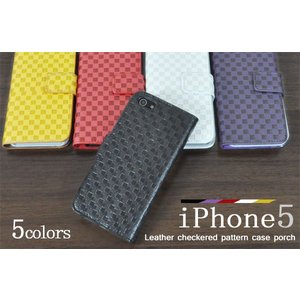 iPhone 5 ケースポーチ iPhone5 iPhone5S iPhone5 SEカバーポーチ 市松模様 アイフォン5保護ケースポーチ|n-style