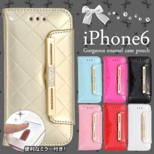 iPhone6 iPhone6S(4.7インチ) 手帳型ケース エナメル×ラインストーン ミラー付き アイフォンケース|n-style