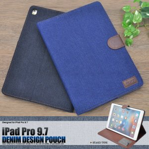 iPad Pro(9.7インチ)用 ケース 手帳型 デニム調 スタンド機能付き iパッドプロケース|n-style