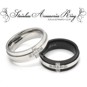 リング レディース メンズ 指輪 ジルコニアクロス(シルバー/ブラック)ファッションリング|n-style