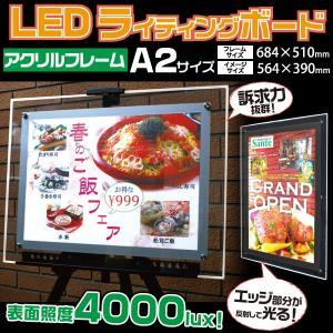 LED看板(A2) LEDバックライト ディスプレイボード 4000lux LEDパネル アクリルフレーム エッジが光る n-style