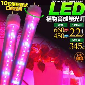植物育成用LED蛍光灯 40W型/120cm G13 グロー式工事不要 室内栽培 水耕栽培 水槽 2年保証 10段階回転式口金 n-style