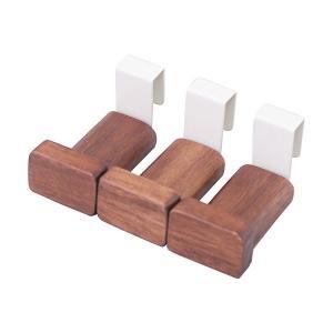 すのこに掛けられる家具 木製フック 3個入 ダークブラウン KF-103DB オスマック n-tools