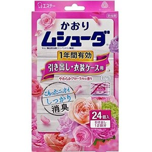 かおりムシューダ 1年間有効 引き出し 24個 やわらかフローラルの香り エステー|n-tools