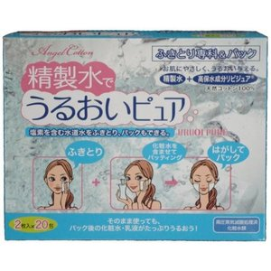 Angel Cotton 精製水でうるおいピュア ふきとり専科&パック 20包|n-tools