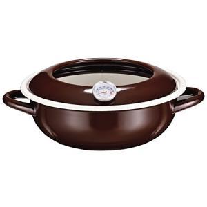 パール金属 ジーヴォ ホーロー 温度計付き 天ぷら鍋23cm ブラウン(茶) HB-1720 パール金属(PEARL METAL)|n-tools