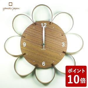 ヤマト工芸 FLOWER CLOCK 掛け時計 ウォールナット YK10-103 yamato japan|n-tools