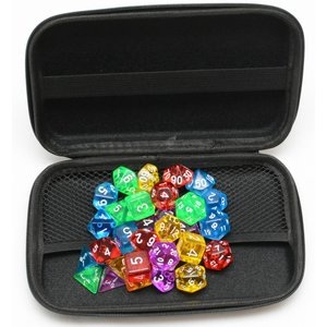 TRPG ボードゲーム カードゲーム 用 多面体 クリア サイコロ ダイス 35個 セット 5色×7種 収納・持運びに便利なハードケ ース付き