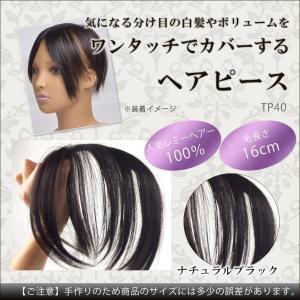 人毛100% ヘアーピース 分け目カバーのヘアピース ナチュラルブラック TP40|nabike