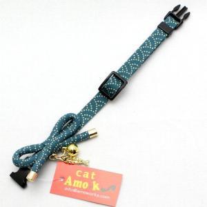 アモワークス さかな泥棒 ブルー:S 猫用首輪 Amo.k|nachu