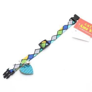 アモワークス タイルチェックカラー ブルー:S 猫用首輪 Amo.k|nachu