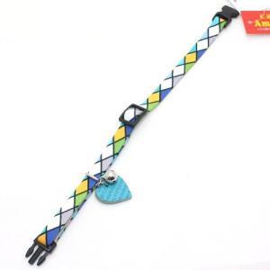 アモワークス タイルチェックカラー ブルー:M 猫用首輪 Amo.k|nachu