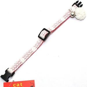 アモワークス ポンポンレース カラー レッド:S 猫用首輪 Amo.k|nachu