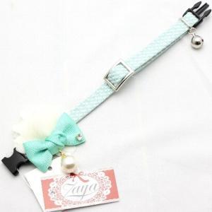 アモワークス フリージアパールカラー グリーン:S 猫用首輪 猫用カラー16〜25cm Amo.k|nachu