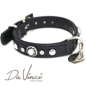 Da Vinci カラー Vittoria:黒 DV1.1.25B 小型犬用首輪・首周り実寸:約17〜21cm お洒落な お洒落な イタリア製 かわいい オシャレ ダ・ヴィンチ nachu