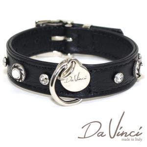 Da Vinci カラー Vittoria:黒 DV1.2.30B 小型犬用首輪・首周り実寸:約20〜25cm お洒落な イタリア製 かわいい ダ・ヴィンチ nachu