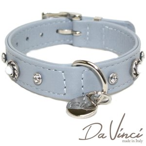 Da Vinci カラー Vittoria:グレー DV1.2.30G 小型犬用首輪・首周り実寸:約20〜25cm お洒落な イタリア製 かわいい ダ・ヴィンチ nachu