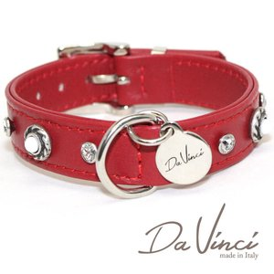 Da Vinci カラー Vittoria:赤 DV1.2.30R 小型犬用首輪・首周り実寸:約20〜25cm お洒落な イタリア製 かわいい ダ・ヴィンチ nachu