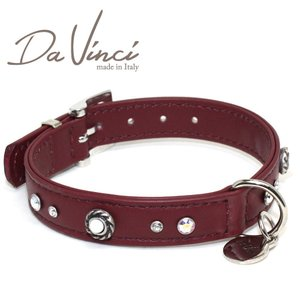 Da Vinci カラー Vittoria:ボルドー DV1.2.35BX 小型用首輪・首周り実寸:約24〜30cm お洒落な イタリア製 かわいい ダ・ヴィンチ nachu