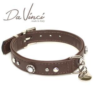 Da Vinci カラー Vittoria:茶 DV1.2.35BR 小型用首輪・首周り実寸:約24〜30cm お洒落な イタリア製 かわいい ダ・ヴィンチ nachu