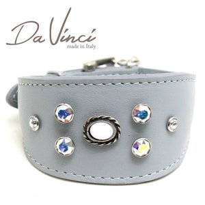 SALE/返品交換不可・Da Vinci カラー Vittoria:グレー DV1.7.30G 小型犬用首輪・首周り実寸:約21〜25cm イタリア製 dv91300 nachu